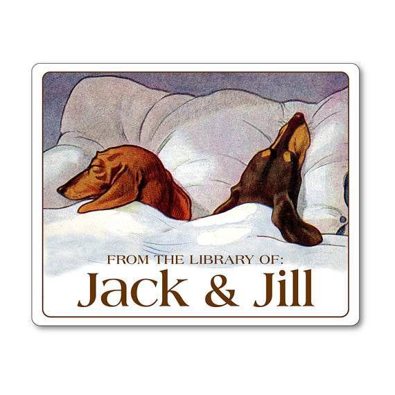 dachshunds bookplate