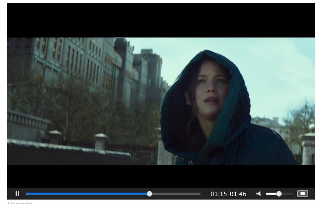 Mockingjay Part 2 screenshot of Katniss in a blue hood