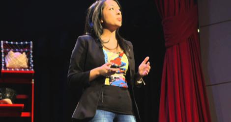 Marvel executive Sana Amanat giving a TED Talk