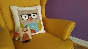 yellow-chair-owl-pillows