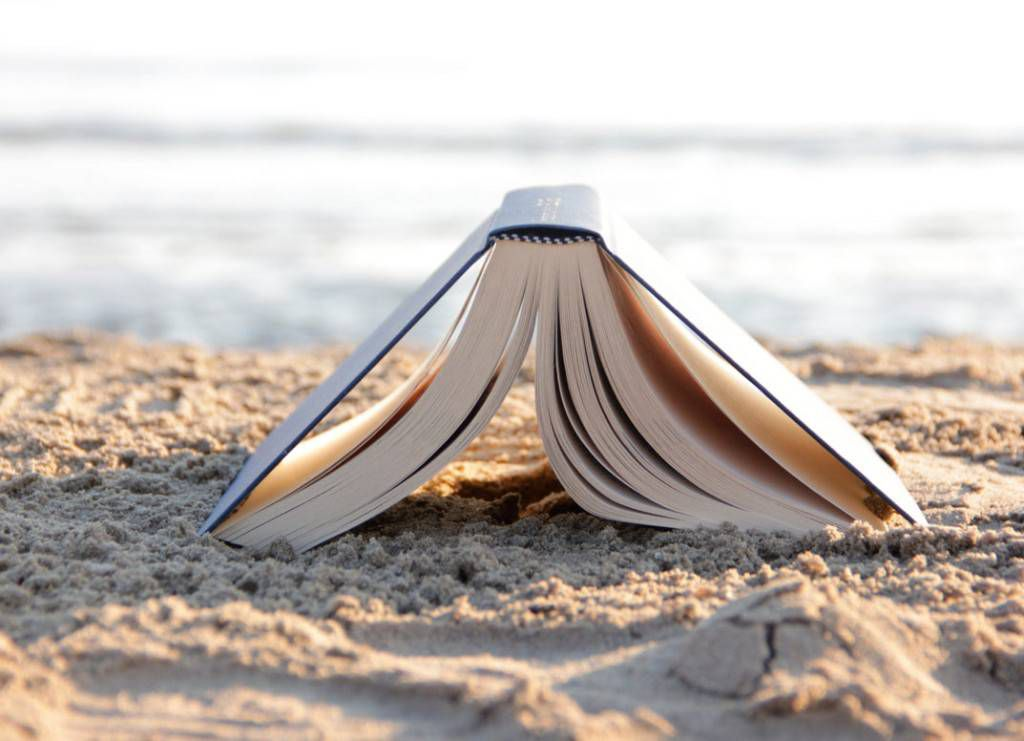 a book on the beach