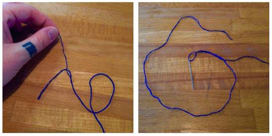 visual instructions for separating out embroidery floss and threading the needle
