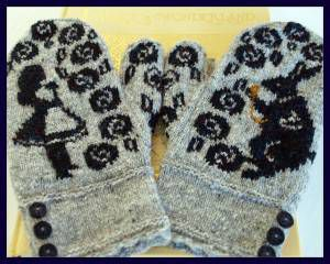 Alice in Wonderland Mittens, by Jennifer Lang