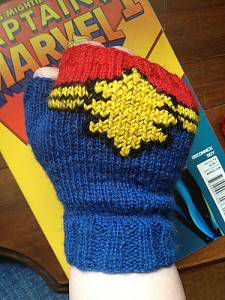 Captain Marvel Fingerless Gloves, by maratini knits