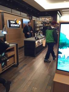 Amazon bookstore tech and wood paneling