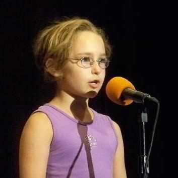 Girl recites poetry
