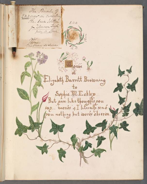 A beautiful inscription by Elizabeth Barrett Browning, circa 1862.