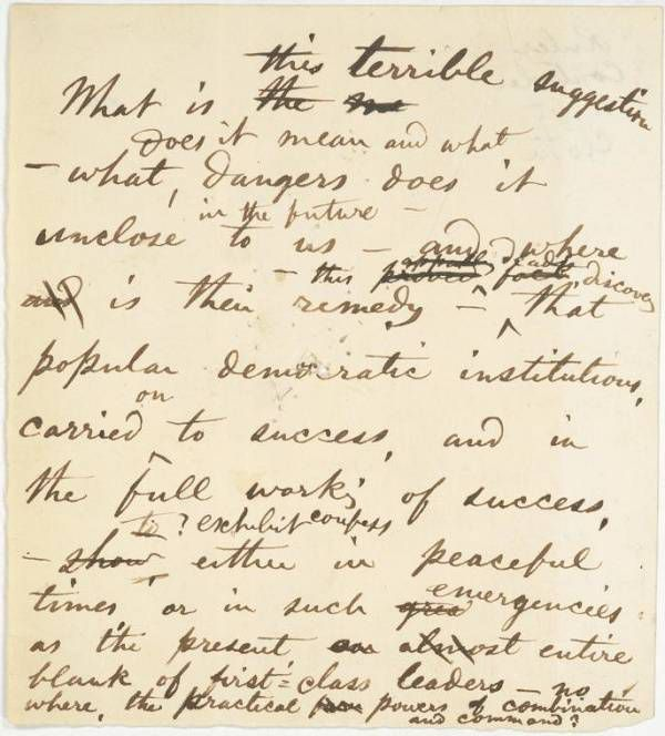 A fragment of a a handwritten note by Walt Whitman, apparently regarding a terrible suggestion.
