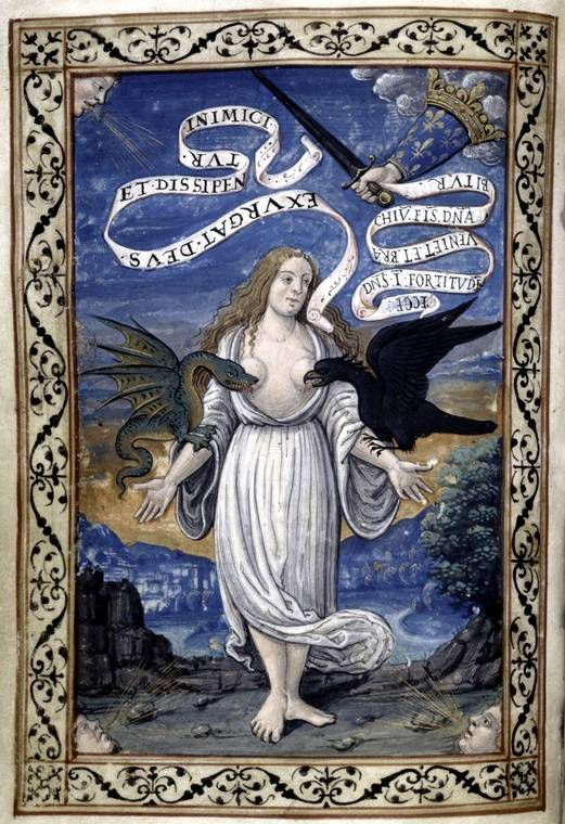 A page from an illuminated manuscript showing Italy as a woman is torn at by beasts, but protected by the hand of the king of France. Circa 1525 - 1550.