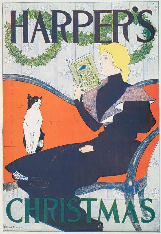 A woman reading with a cat. Harper's, 1894.