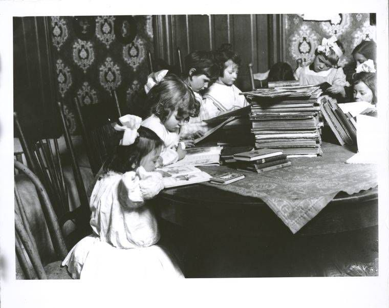 Children in free public library.