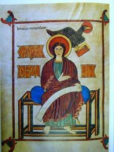 Portrait of John the Evangelist displaying the Byzantine influences in the Lindisfarne Gospels.