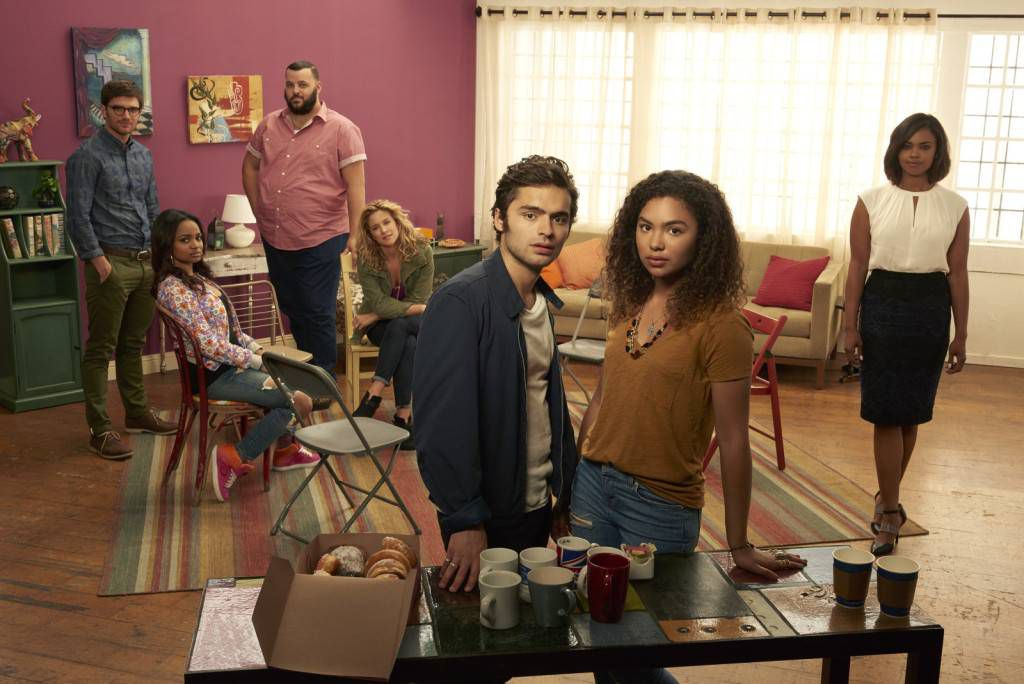 """RECOVERY ROAD - ABC Family's """"Recovery Road"""" stars David Witts as Craig, Kyla Pratt as Trish, Daniel Franzese as Vern, Alexis Carra as Cynthia, Sebastian De Souza as Wes, Jessica Sula as Maddie and Sharon Leal as Charlotte. (ABC Family/Bob D'Amico)"""