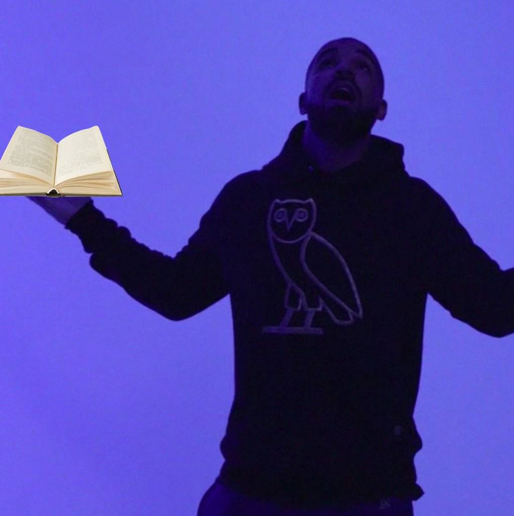 Drake with a book
