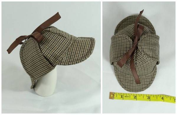 A tiny deerstalker cap for small pets wishing to dress in a Sherlock Holmes costume. Would fit guinea pigs, hedgehogs, hamsters, and other pets of that size.