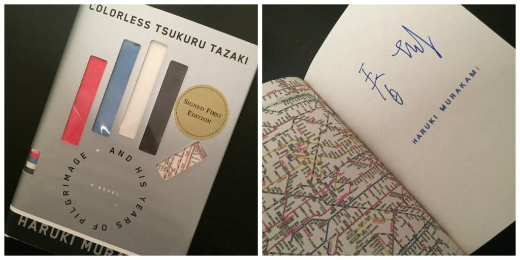 A signed first edition of COLORLESS TSUKURU TAZAKI AND HIS YEARS OF PILGRIMAGE.