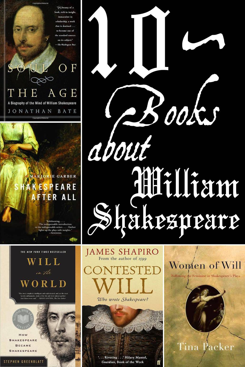10 books about Shakespeare's life, work, and legacy.