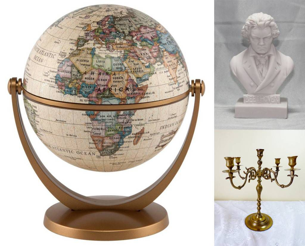 vintage library party globe bust candlesticks