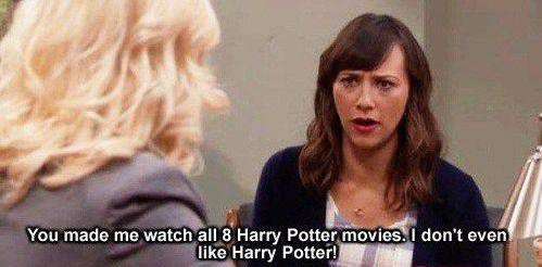 Ann Perkins reads parks and recreation harry potter