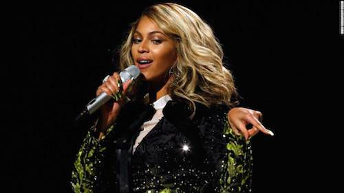Beyonce at the 50th Grammy Awards Show on February 10, 2008