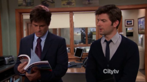 Chris Traeger Parks and Rec Reading