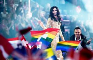 Conchita Wurst, representing Austria at the Eurovision Song Contest in Copenhagen in 2014.