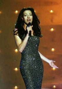 Dana International at the Eurovision Song Contest in Birmingham in 1998.