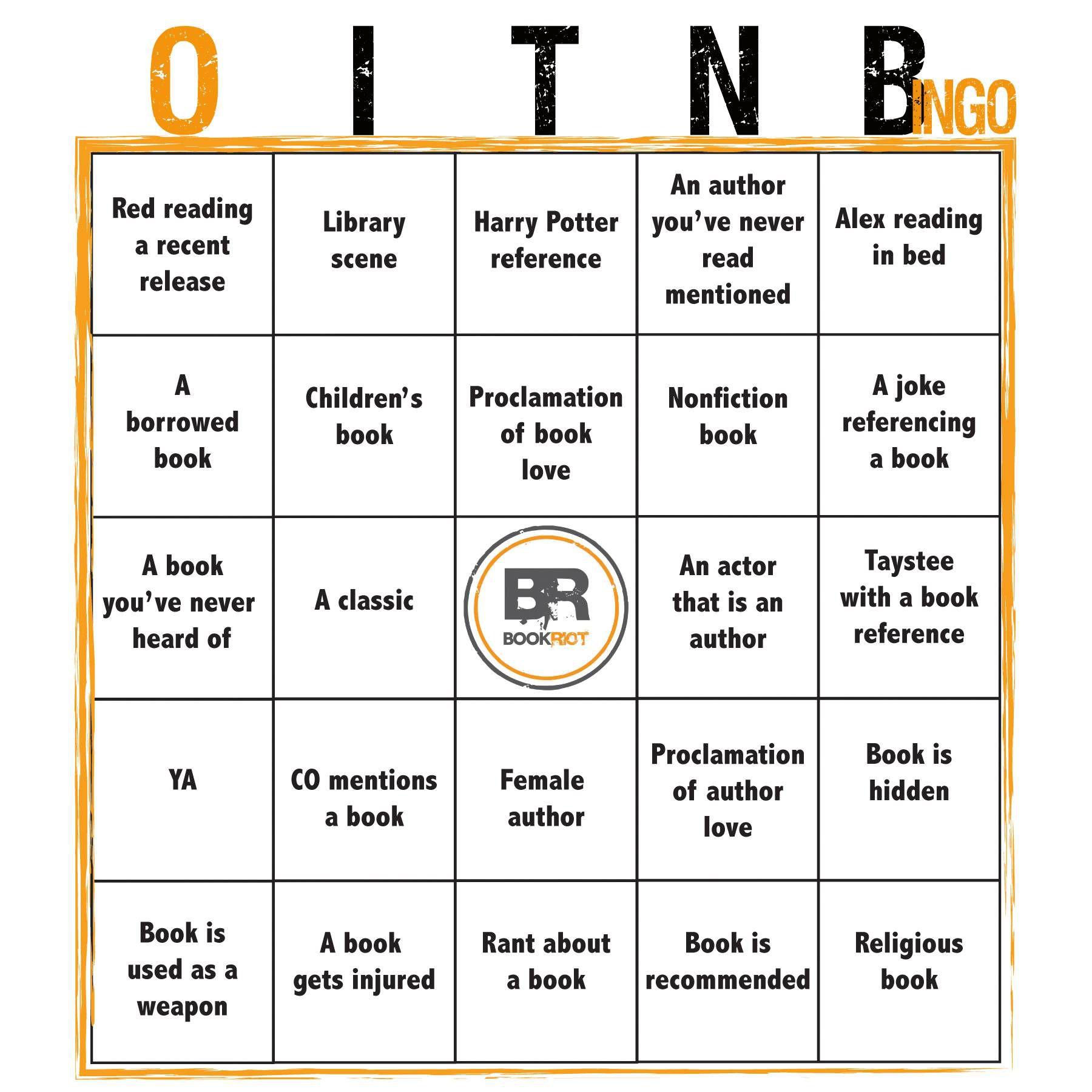 OITNB bingo card