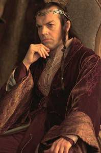 Elrond, son of Eärendil, played by Hugo Weaving in Peter Jackson's Lord of the Rings movie trilogy.