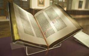 Gutenberg Bible, Lenox Copy, incomplete on paper, New York Public Library.