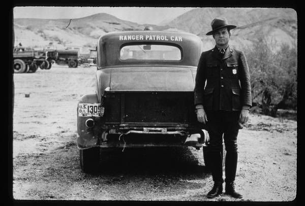 National Park Service Ranger And Car early 20th century