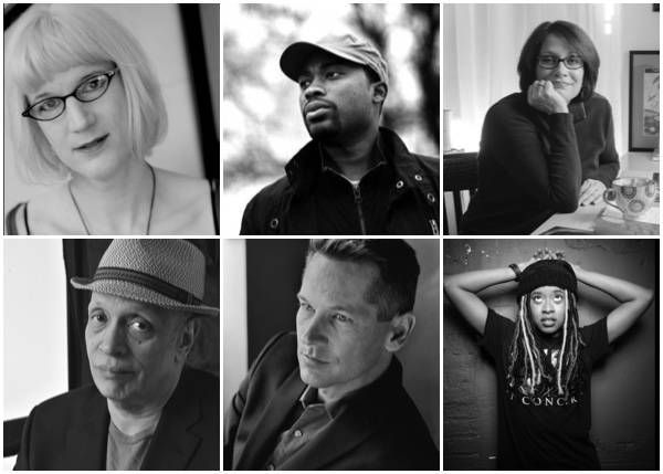 author photo collage with Charlie Jane Anders, Valentine De Landro, Meg Medina, Walter Mosley, Patrick Phillips, and Phoebe Robinson