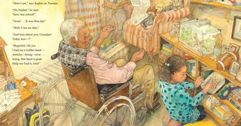 The inside of the book, In Plain Sight, shows an elderly man in a wheelchair with a young girl.