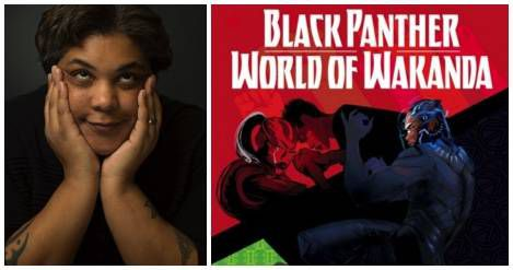 collage of Roxane Gay and World of Wakanda cover