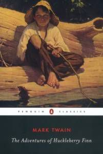 The Adventures of Huckleberry Finn by Mark Twain Book Cover