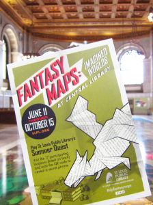 Fantasy Maps postcard for St. Louis Public Library exhibit