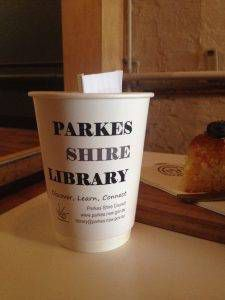 Words on a cup: Parkes Library coffee cups