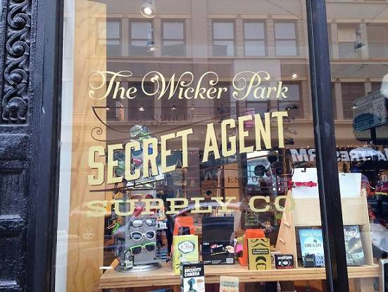 Front window of the Wicker Park Secret Agent Supply Co