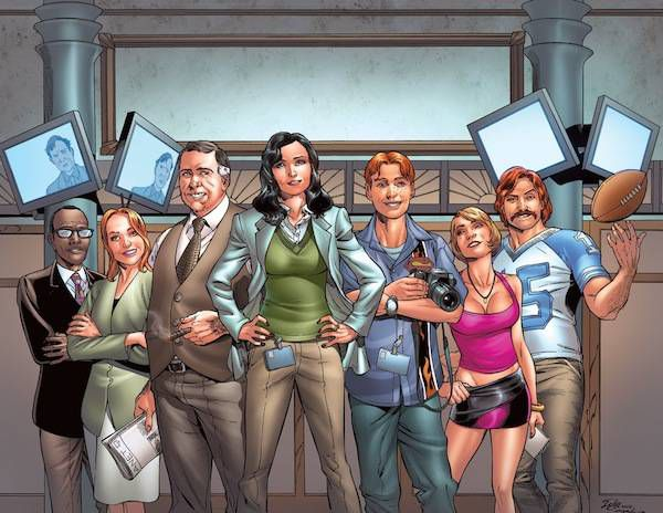 The Planet staff, by Jamal Igle. Left to right: Ron Troupe, Lana Lang, Perry White, Lois Lane, Jimmy Olsen, Cat Grant, and Steve Lombard. (Sorry I called you z-list, Ron.)