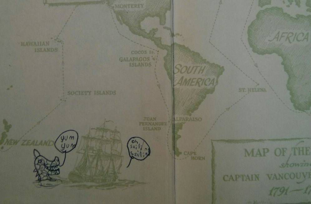 A map with a hand drawn sea monster