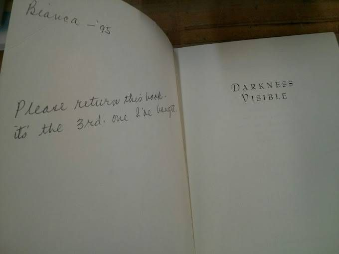"Inscription that reads: ""Bianca – '95. Please return this book – it's the 3rd one I've bought."""