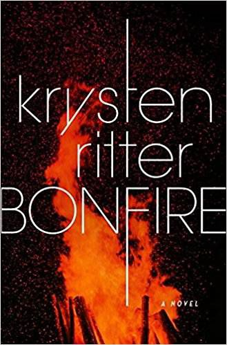 cover of Bonfire by Krysten Ritter, cover image is a close up of a bonfire with tall flames against the sky