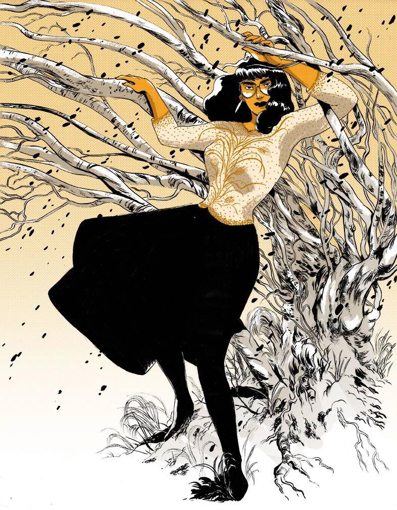 Fashion illustration by Celine Loup for Paper Base's riso 2016 calendar.