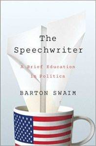 book cover for the speechwriter by barton swaim