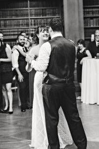 library wedding couple