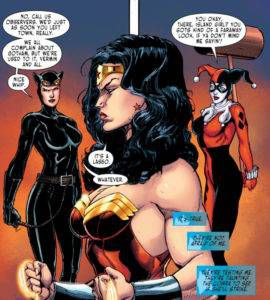 Wonder Woman with Catwoman and Harley Quinn in Gotham City.