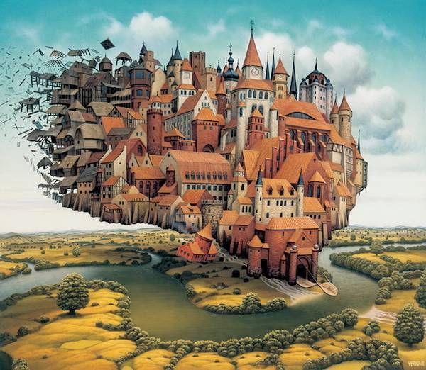 City Is Landing by Jacek Yerka