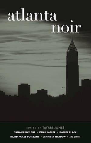 Atlanta Noir book cover: black and white silhouette of buildings in Atlanta