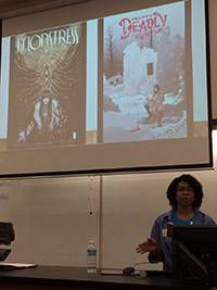 Ayanni Hanna presenting on Monstress and Pretty Deadly