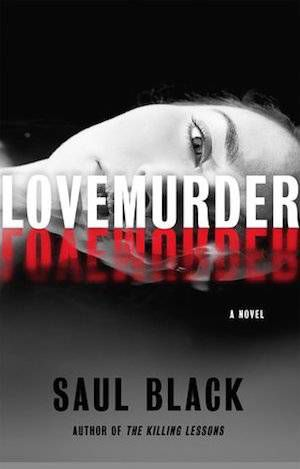 Lovemurder book cover: half a woman's face sinking into water